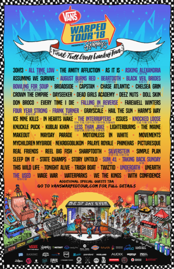 Vans Warped Tour Line Up Announced For Final Cross Country Run